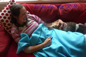 Luckily, Lottie has always enjoyed cuddling and resting!
