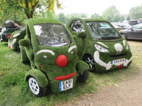 Cars decorated with grass!