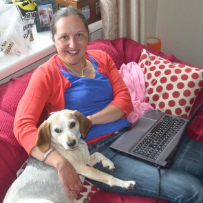 Cuddles with Lottie whilst writing my blog