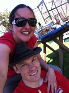 Enjoying a BBQ with Phil in the sun