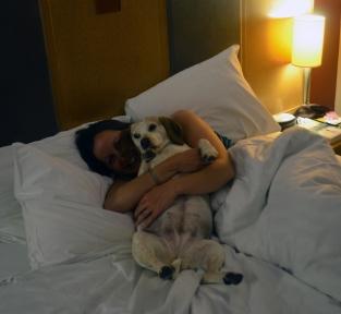 Lottie cuddles in bed!
