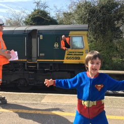 The little train spotter!