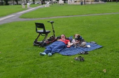 Taking a break in a park...