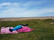 Resting at Chisel Beach whilst the others walked up to the dunes!