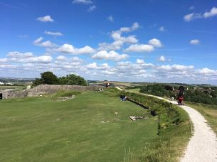 Scootering along Old Sarum