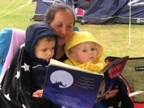 Camping with my best friends (reading to Nate and Agnes)...