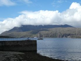 Loch Canaird and a cruise ship behind!