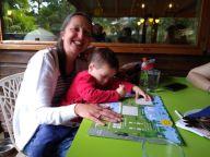 Keeping Joe-Yien entertained in a restaurant