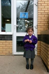 Picking up Mei-Yan from her first day at school