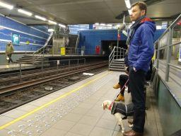 Lottie waiting for the underground train